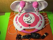 Hello Kitty Pink CD Player Karaoke System Built In Speakers 2 Microphones Gift