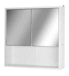 Weiss Holz Wandmontage Spiegel 2 Halb Tur Badezimmer Schrank