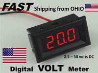 Small Digital Car Stereo / Amplifier Digital Volt Meter - Snap In