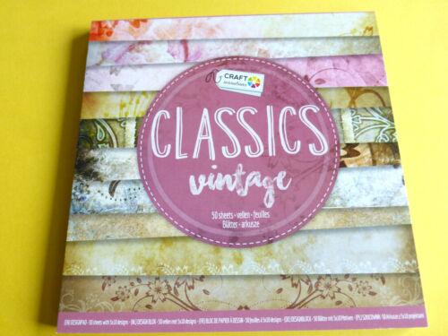 Hintergrundpapier Desingblock 50 Blatt Classics Vintage Scrapbooking Basteln