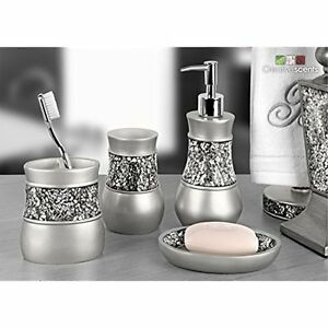 Image Is Loading Brushed Nickel Bathroom Set Soap Dispenser Toothbrush Holder