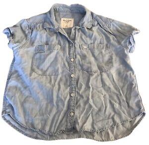 Abercrombie-amp-Fitch-Women-039-s-Denim-Shirt-Blue-XS-Short-Sleeve-Cotton