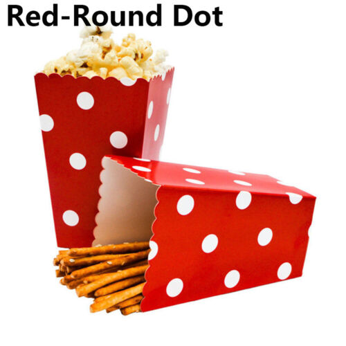 12pcs//Set Popcorn Boxes Bags Treat Boxes Wedding Birthday Party Movie Supplies