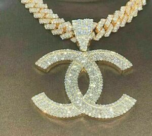 "14K Yellow Gold Finish Customized Ice Out Diamond Men's ""CC"" Name Charm Pendant"