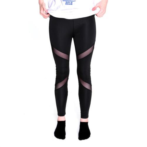 cosey schwarz Gr Sport-Leggings Leggins stylisch bequem Mesh Optik D2 XL