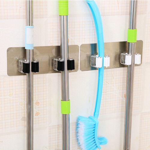 Kitchen Mop Broom Storage Holder Hanging Self Adhesive Cleaning Home Organizer