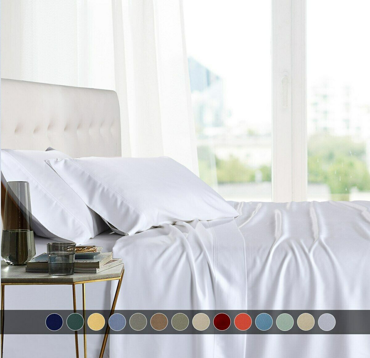 Split King Sheets 100% Bamboo Viscose Super Soft Adjustable Solid Bed Sheet Set