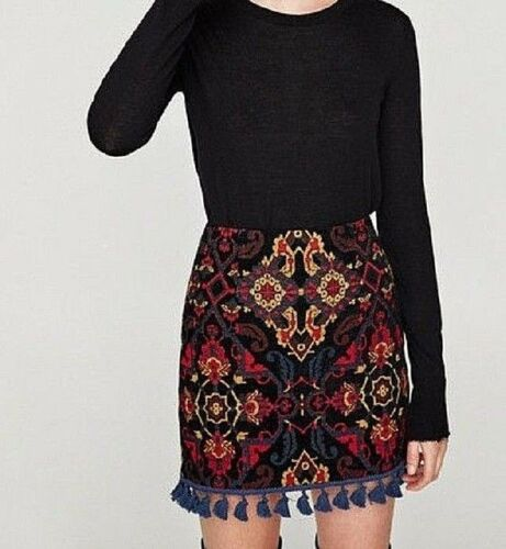 tag Jacquard Beautiful Cute Skirt Zara Pompoms With Women Nuovo M Blue Taglia OPpa661W