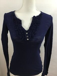 International-Concepts-Women-s-Top-INC-Navy-Blue-Cotton-Long-Sleeve-Knit-XS
