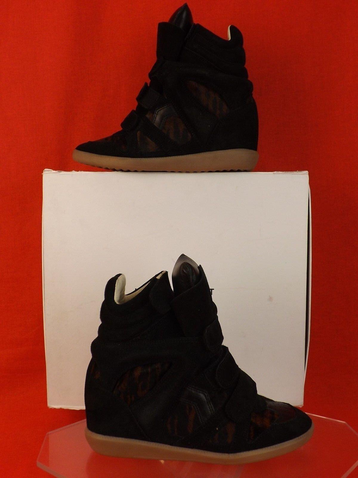 Nuevo En Caja Isabel Marant Etoile Negro Negro Negro Gamuza Pony Cabello Benett Plataforma Tenis 38  810  barato y de alta calidad