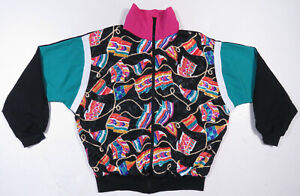Vintage 80s 90s Color Block Ropes Multi Color Full Zip Windbreaker Jacket XL USA