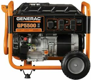 Generac GP5500 6,875-Watt Portable RV Ready Gas Powered Generator with Wheel Kit