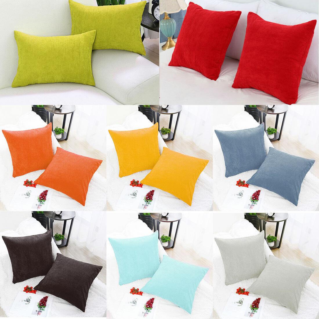 BIGU Cushion Covers Elegant Soft Striped Corduroy Square Solid Pillow Covers Home Decoration Sofa Car Waist Plain Throw Pillow Case 28x28 70X70CM Red