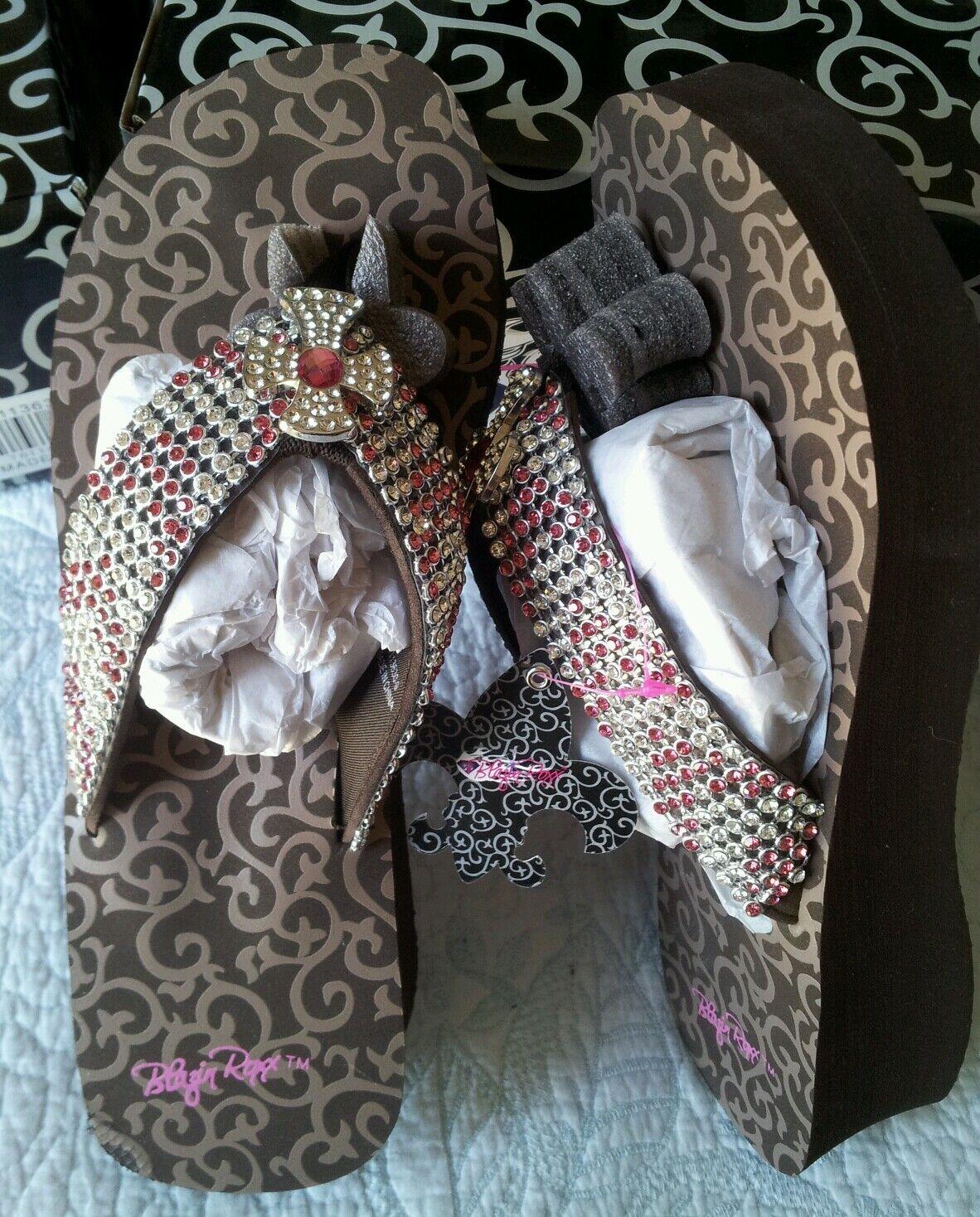 New Sz9 BLAZIN ROXX Brown & Pink Tanya PLATFORM Leather FLIP-FLOP Western Style
