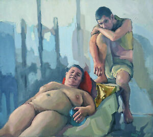 Fat-Busty-Women-Female-Figure-Nude-Naked-Young-Boy-Couple-Oil-Academic-Painting