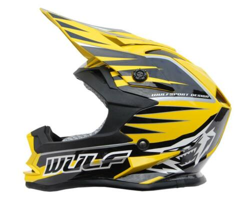 NEW KIDS WULFSPORT *ACU* YELLOW MOTOCROSS HELMET QUAD YOUTH CHILD SX CR YZ PW