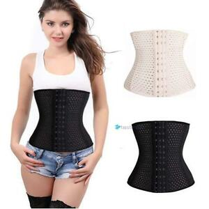 Women Latex Rubber Body Shaper Train Waist Cincher Underbust Corset Shapewear GH