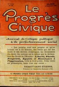Le Progrès Civique N°108 1921 - Journal De Critique Politique Henri Dumay Rare MatéRiau SéLectionné