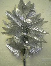 36 SILVER Leather Fern Leaves Sprays Artificial Silk Greenery 800-SL