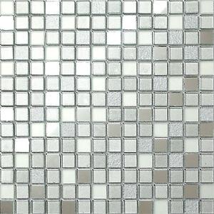 1qm Glas Mosaik Fliesen Matte Silber Matt Spiegel Und Glitzer