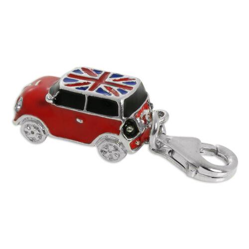 Plata Esterlina 925 Y Esmalte Mini coche Clip encanto bandera británica coches encantos