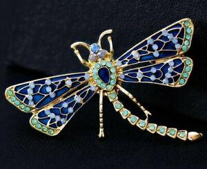 Polka-Dot-DRAGONFLY-Rhinestone-Enamel-Aqua-Blue-Retro-Vintage-Inspired-Brooch