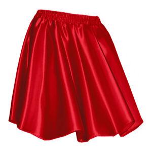 8bc5f796a0 Red - Women Girl Satin Short Mini Dress Skirt Pleated Retro Elastic ...