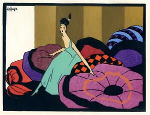 1930s-French-Pochoir-Print-Art-Deco-LAFUGIE-Young-Woman-in-Bedroom
