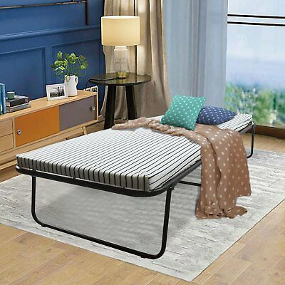 Folding Bed Rollaway Guest Bed Steel Frame With 2 Foam Mattress