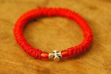 Elastic Orthodox Chotki Bracelet Prayer Rope Komboskini RED - Cross & Red Beads