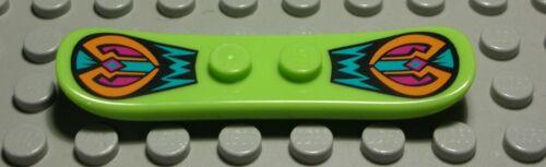 Lego Figur Zubehör Snowboard lime Hellgrün mit Dekor 1124 #