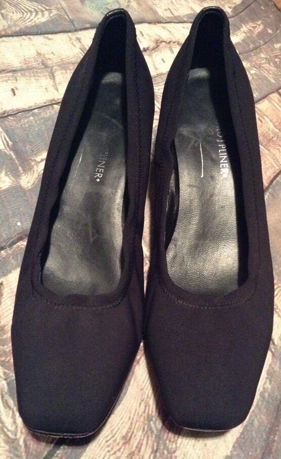 Donald J Pliner  Black Solid Black  Fabric Pumps Kitten  Heels Shoes 7.5 M 048794