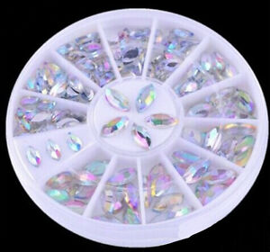 2-Sizes-Colorful-Nail-Art-Tips-Crystal-Glitter-Rhinestone-Decoration-Wheel-vK