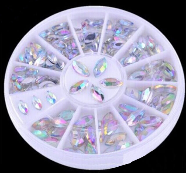 2 Sizes Colorful Nail Art Tips Crystal Glitter Rhinestone Decoration Wheel  vK