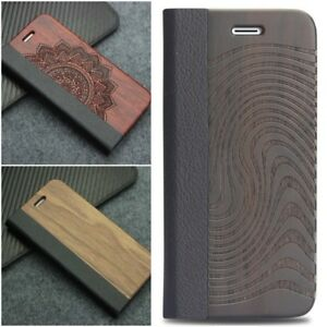 new concept 01e6e 0b550 Flip Case Cover Wood For Samsung Galaxy S8+ S9+ S7 Edge iPhone ...