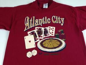 Atlantic City T-Shirt VTG 1994 Adult Medium Cards Roulette Dice Foam Letters USA