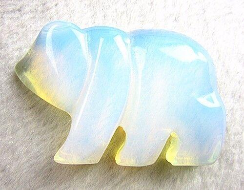 Beautiful unique milk white opal carved bear pendant bead Vk5145