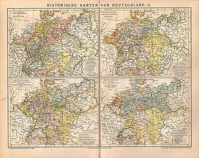 Deutschland nach dem westfälischen Frieden historische Karte Lithographie 1903