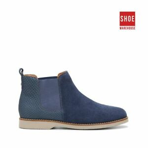 Hush Puppies DARYA Navy Womens Ankle Boot Casual Leather Boots