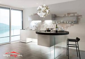 Lampadario cucina salotto Sfera design 35 cm MONTATO luce led bianco freddo