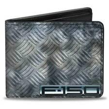 Men Wallet Bifold Black F 150 Ford Truck Checker Metal Diamond Logo Genuine