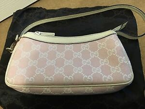 bfcc0498b4a Image is loading Authentic-Limited-GUCCI-Pink-Canvas-GG-Monogram-Pochette-
