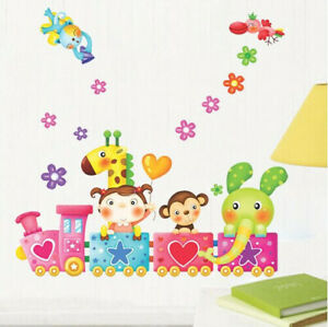 Kinder-Zug-Tiere-Wandsticker-Wandtattoo-Elefant-Affe-Blume-WandAufkleber-Sticker