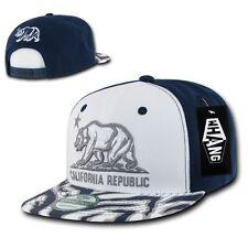 White Blue California Republic Cali Zebra Print Flat Snapback Snap Back Cap Hat