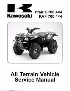 kawasaki service workshop manual 2004 2005 2006 prairie 700 4 4 rh ebay com kawasaki prairie 700 service manual kawasaki prairie 700 shop manual