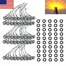 "50X Mini Black Smoked Amber 3/4"" Round Side 3 LED Marker Trailer Truck Light US"