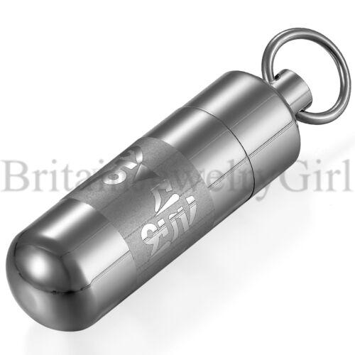 2pcs Argent en acier inoxydable poli cylindre couvert Bouteille Collier Pendentif