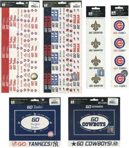 MLB NFL Scrapbook Stickers Pick from 68 LOGOS FRAMES BORDERS baseball football