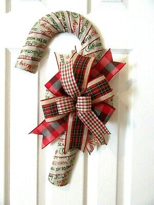 Buffalo Check Christmas Wreath.Log Cabin Candy Cane Wreath Christmas Script Buffalo Check Christmas Wreath Ebay