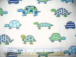 Seashell-starfish-tortoise-cotton-quilting-fabric-Choose-design-amp-size